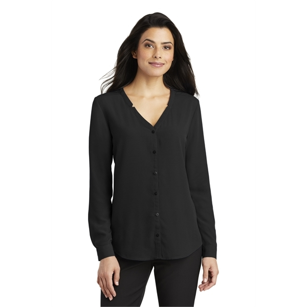 Ladies Long Sleeve Button Front Blouse